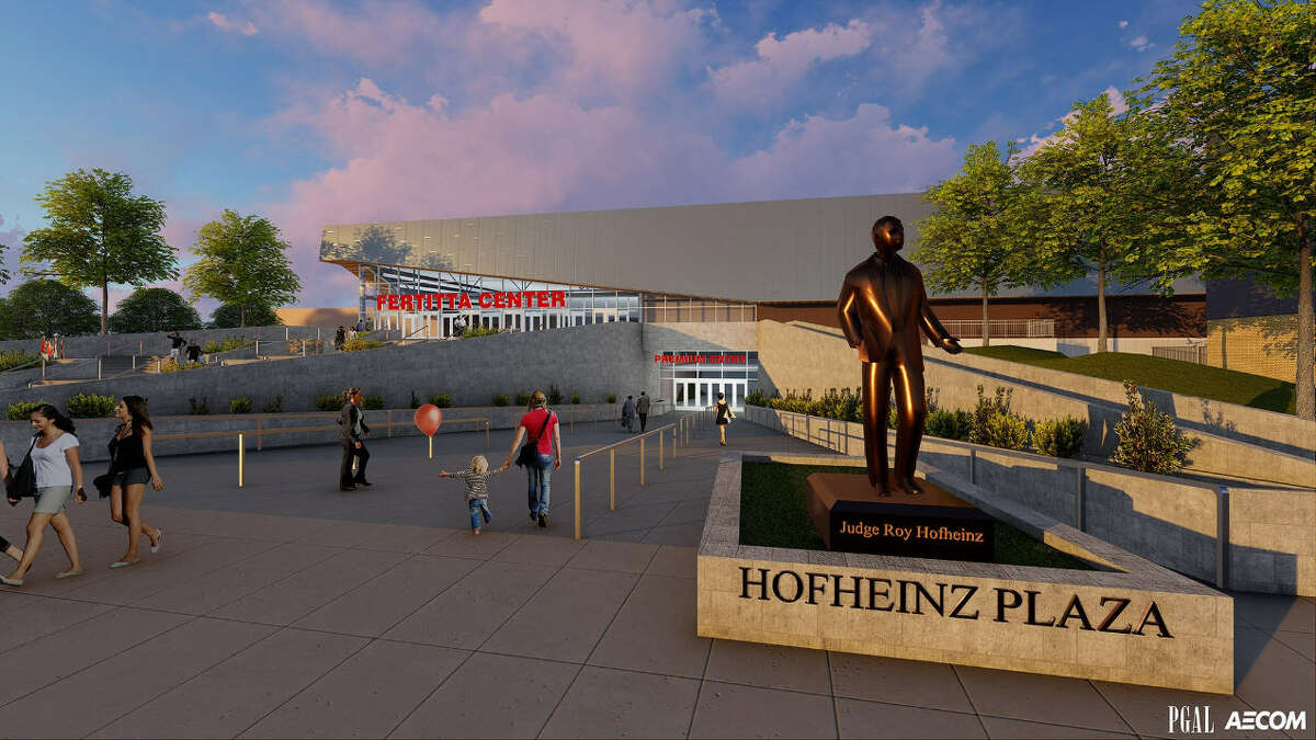 Another rendering of a proposed statue in honor of late Judge Roy Hofheinz outside UH's renovated Fertitta Center.
