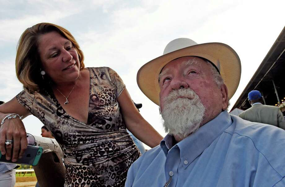 Saratoga Mayor Joanne Yepsen, left and television and movie personality Wilford Brimley were the special presenters for the Saratoga Special Stakes race Sunday afternoon Aug 16, 2015 at the Saratoga Race Course in Saratoga Springs, N.Y.   (Skip Dickstein/Times Union) Photo: SKIP DICKSTEIN