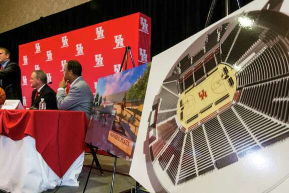 Tilman Fertitta speaks during a news conference announcing his $20 million gift to the University of Houston to renovate the UH basketball arena, on Thursday, Aug. 25, 2016, in Houston.  Fertitta's gift to the university is the largest ever individual donation to UH Athletics. Following the renovation, scheduled for completion for the 2018-19 basketball season, the arena, now known as Hofheinz Pavilion, will be renamed the Fertitta Center.  ( Brett Coomer / Houston Chronicle )