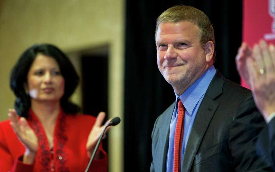 Tilman Fertitta is introduced during a news conference announcing his $20 million gift to the University of Houston to renovate the UH basketball arena, on Thursday, Aug. 25, 2016, in Houston.  Fertitta's gift to the university is the largest ever individual donation to UH Athletics. Following the renovation, scheduled for completion for the 2018-19 basketball season, the arena, now known as Hofheinz Pavilion, will be renamed the Fertitta Center.  ( Brett Coomer / Houston Chronicle ) Photo: Brett Coomer, Staff / © 2016 Houston Chronicle