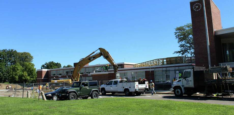 The new wing and renovations to Saxe Middle School are projected to be finished by fall 2017. Photo: Erin Kayata / Hearst Connecticut Media / New Canaan News
