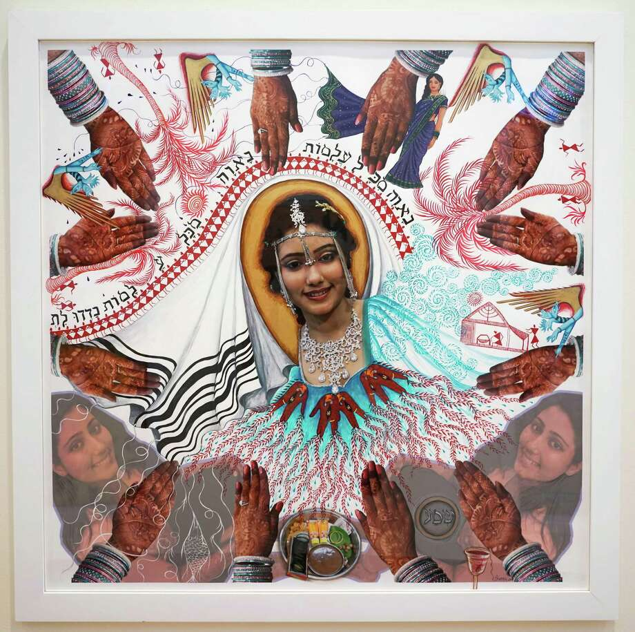 2011 photomontage-based Karen Simon (Borgawkar), Indian Jewish Bride by Siona Benjamin (Courtesy Opalka Gallery)