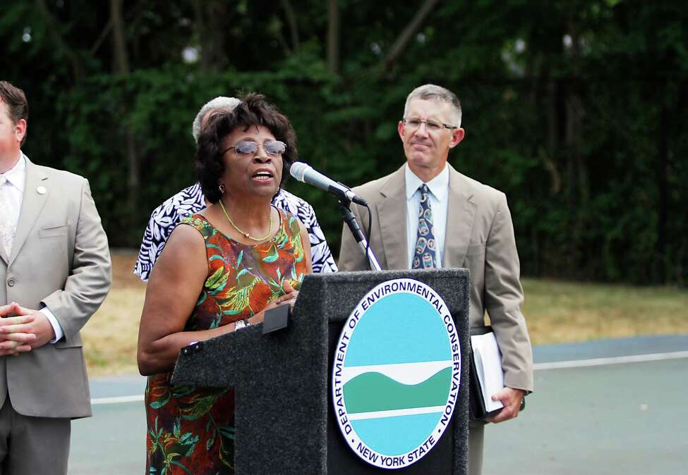 Albany County Legislator Lucille McKnight speaks at a news conference held by the New York State Department of Environmental Conservation (DEC) announcing the expansion of its multi-region pollution prevention program in South Albany, N.Y. Wednesday July 18, 2012. The Operation ECO-Quality Initiative combines enhanced outreach, consultation, and community policing activities to help prevent pollution in some of New York State?s most environmentally burdened communities. (Dan Little/Special to the Times Union)