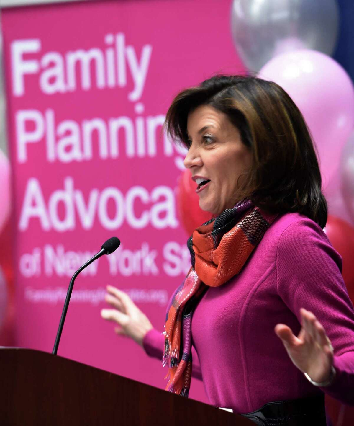 Lt. Governor Kathy Hochul addresses the Family Planning Advocates of New York State Jan. 25, 2016 in Albany, N.Y. (Skip Dickstein/Times Union)