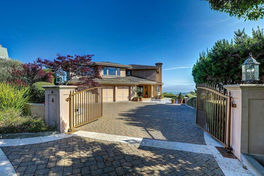 4 Santa Ana Court in Tiburon is a gated luxury home that includes a detached pool house and sweeping vistas. Photo: Jason Wells Photography