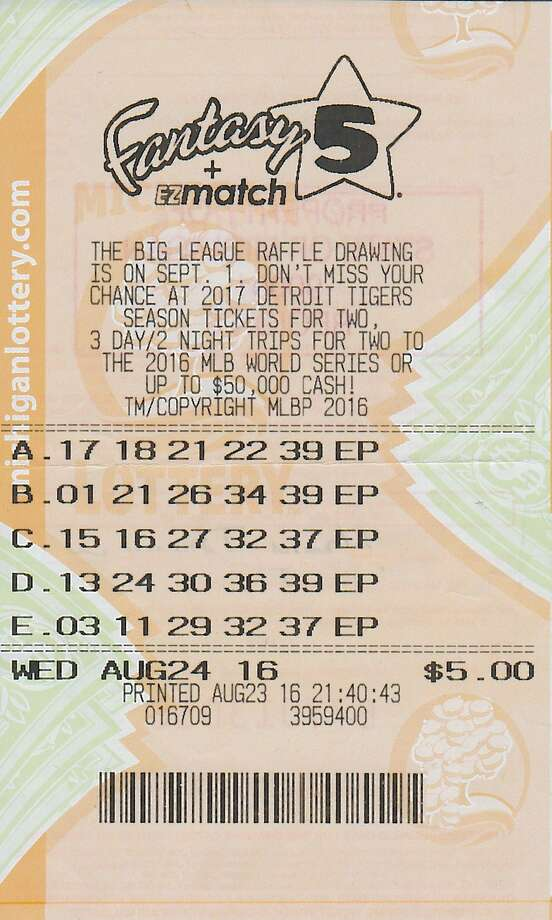 The winning lottery ticket of a two-time Fantasy 5 winner.