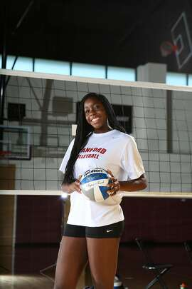 STANFORD, CA - August 12, 2014 - Inky Ajanaku of the Stanford Women's Volleyball Team.
