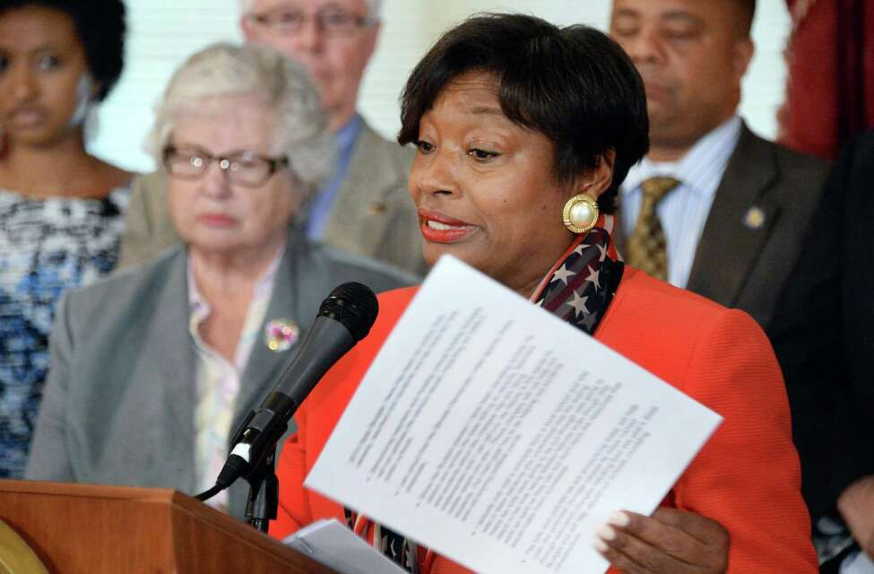 Democratic conference leader Andrea Stewart-Cousins, right, speaks as Senate Democrats unveil an education legislative package at the Capitol Tuesday, May 19, 2015, in Albany, N.Y. (John Carl D'Annibale / Times Union archive)
