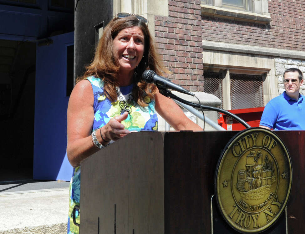 Troy City Council President Carmella Mantello speaks during a groundbreaking ceremony to celebrate the start of the School One Lofts project on Thursday, July 21, 2016, in Troy, N.Y. (Lori Van Buren / Times Union archive)