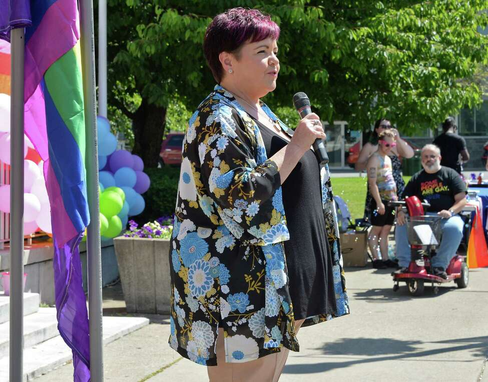 City Council president Leesa Perazzo speaks at the annual Gay Pride festival outside City Hall Saturday June 18, 2016, in Schenectady, NY. (John Carl D'Annibale / Times Union archive)