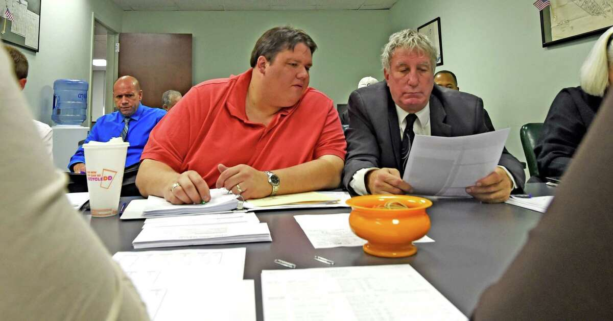 Attorney Bryon C. Mckim, left, and A. Joshua Ehrlich conduct a vote count during the canvas for the Bethlehem elections at the Albany County Board of Elections on Tuesday morning, Nov. 10, 2015, in Albany, N.Y. (Skip Dickstein/Times Union archive)