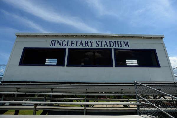 Newton High School's Singletary Stadium is named for John Singletary, a former band director and principal at the school. Photo taken Wednesday 8/3/16 Ryan Pelham/The Enterprise