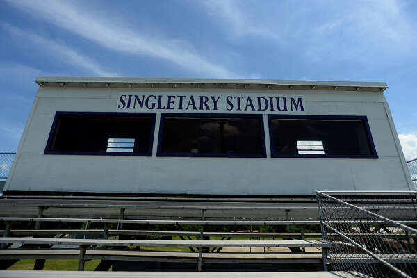 Newton High School's Singletary Stadium is named for John Singletary, a former band director and principal at the school. Photo taken Wednesday 8/3/16 Ryan Pelham/The Enterprise