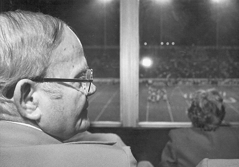 """A.H. """"Bob"""" Montagne watches the Lamar University football team play McNeese State from his press box seat. The Montagne Center is named for the man who served on the board of regents for 22 years.  Enterprise archive photo Photo: Ryan Pelham / ©2016 The Beaumont Enterprise/Ryan Pelham"""