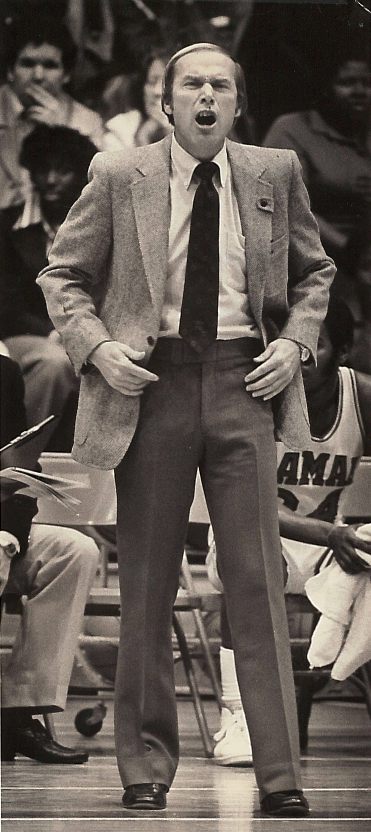 Former Lamar basketball coach Billy Tubbs on court during a game. The court at the Montagne Center is named the Billy and Pat Tubbs Court, in honor of Tubbs and his wife. Enterprise archive photo