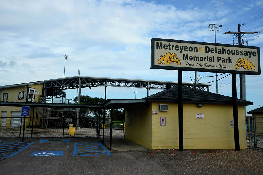 Nederland High School's Metreyeon-Delahoussaye Memorial Park baseball stadium is named for two longtime Bulldog fans. Dudley Metreyeon and Peter Delahoussaye often traveled to away games to cheer on the Bulldogs.  Photo taken Thursday 7/28/16 Ryan Pelham/The Enterprise Photo: Ryan Pelham / ©2016 The Beaumont Enterprise/Ryan Pelham