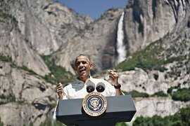 US President Barack Obama speaks while celebrating the 100th anniversary of the US National Parks system at Yosemite National Park, California, on June 18, 2016. / AFP PHOTO / Brendan SmialowskiBRENDAN SMIALOWSKI/AFP/Getty Images