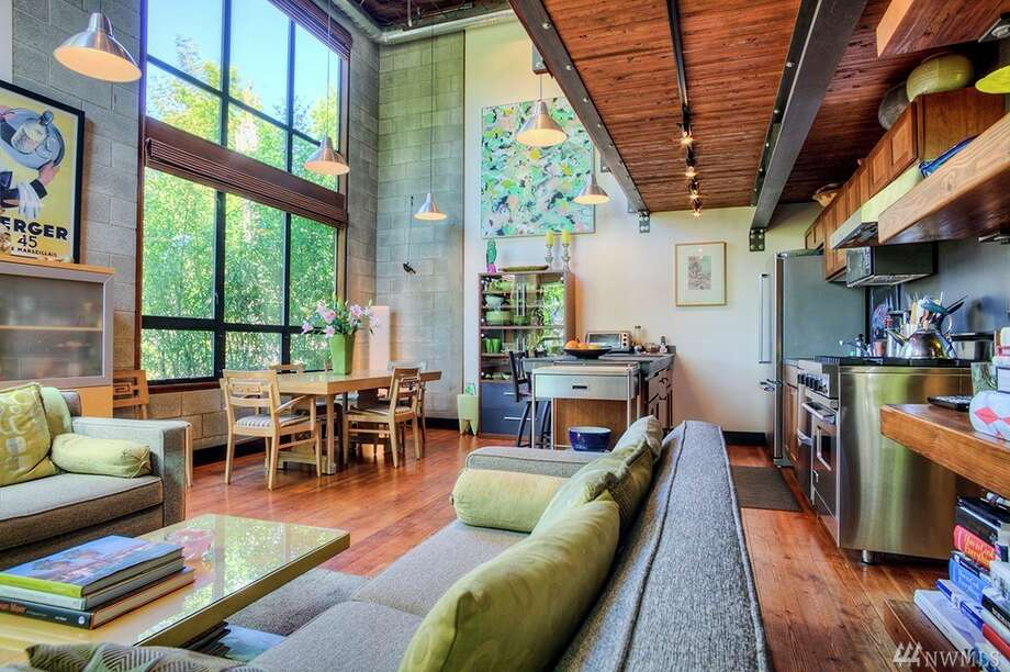 3810 Evanston Ave. N. Unit B is listed for $1.05 million. The two bedroom, 2½ bathroom home is 1,929 square feet. The four-level residence was built in 2001 and features exposed beams, concrete walls and steel trusses. The home in the heart of Fremont walking distance to Google, Tableau and Adobe.You can see the full listing here. Photo: Photos By Mel Curtis, Listing Courtesy Moira Holley, Realogics Sotheby's