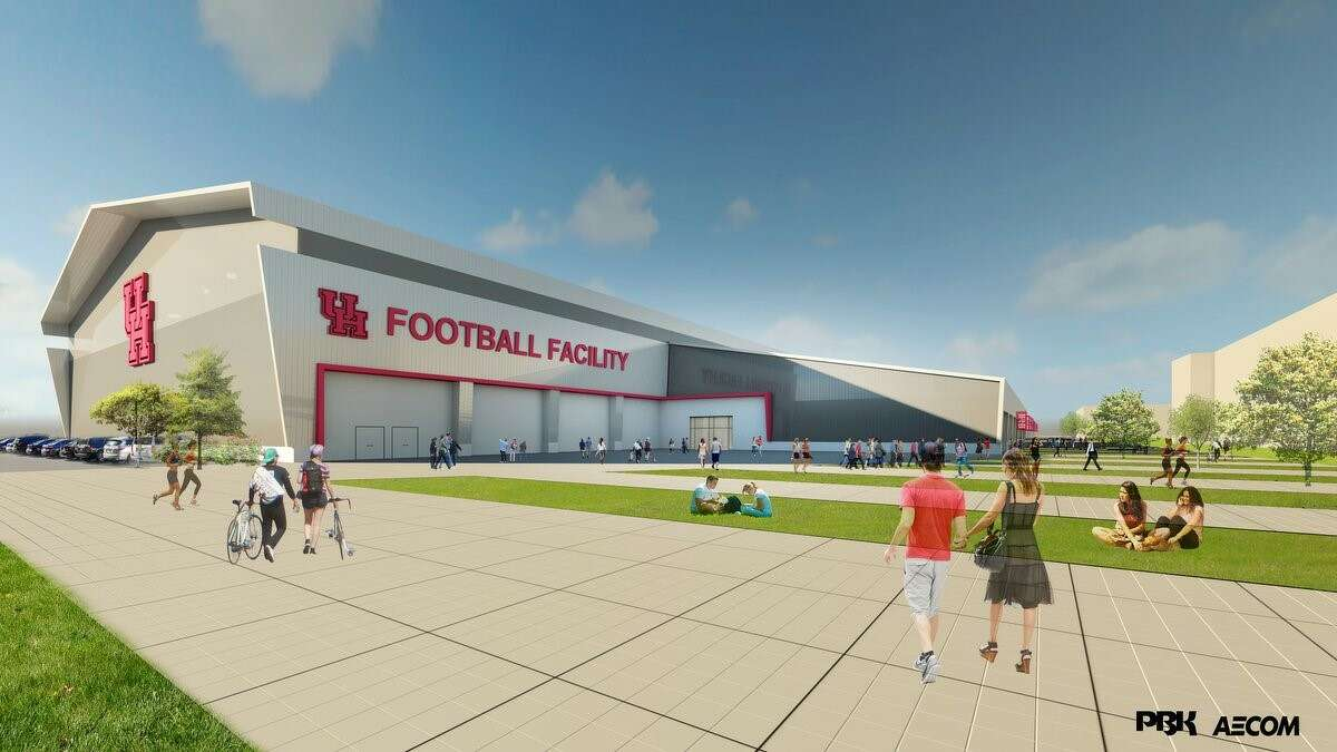This rendering shows the University of Houston's proposed indoor football facility.