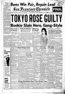 Historic Chronicle Front Page September  30, 1949  Tokyo Rose found guilty of treason. Trial took place in S.F.