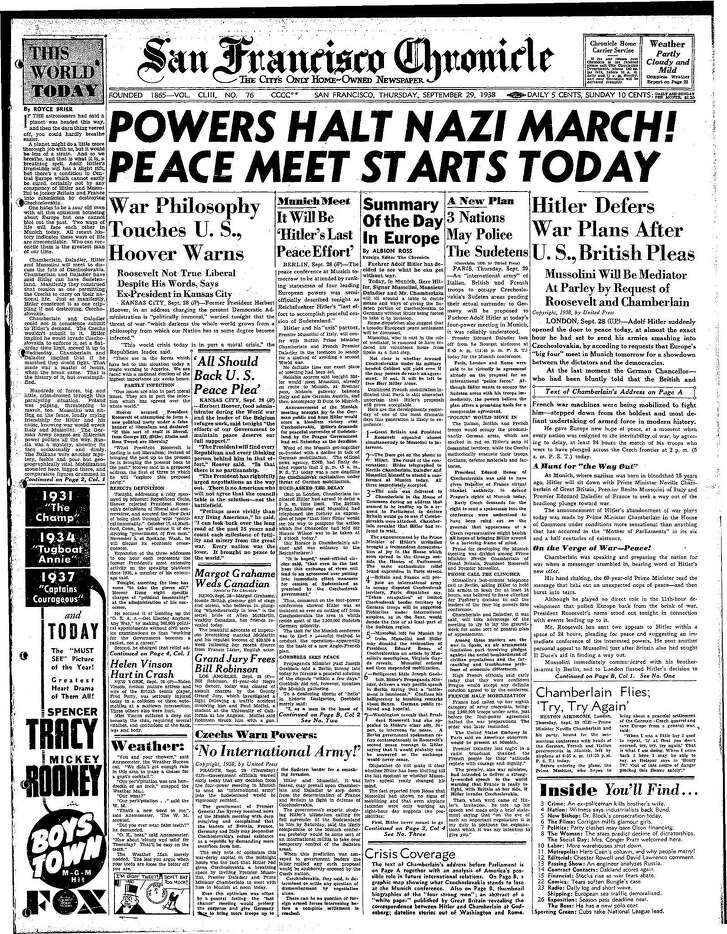 Historic Chronicle Front Page September  29, 1938  Nazi Germany halts aggression, agrees to meet to discuss peace with British Prime Minister Neville Chamberlain