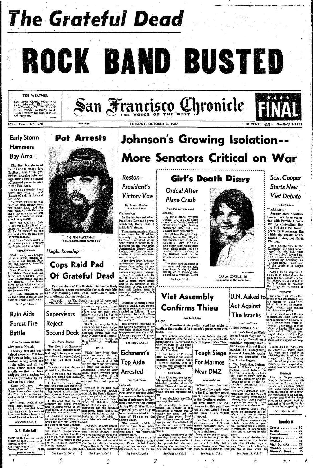 Historic Chronicle Front Page October 03, 1967 Police raid the Grateful Dead house in the Haight Ashbury