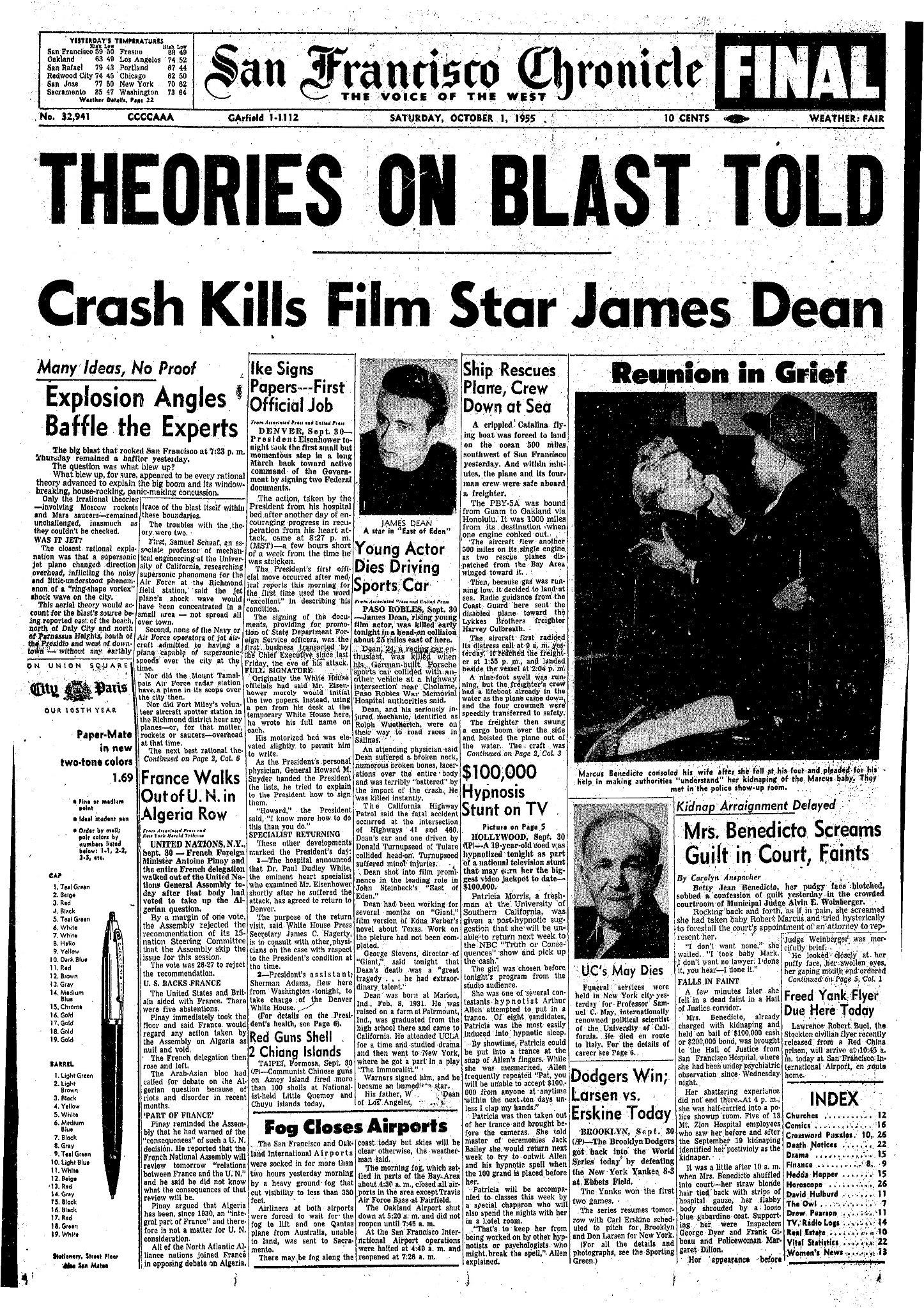 Chronicle Covers The Night James Dean Died San