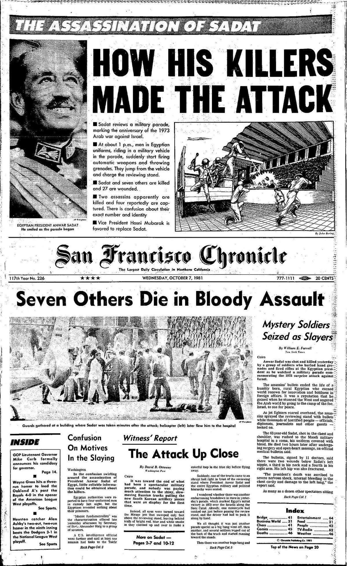 Historic Chronicle Front Page October 07, 1980 Anwar Sadat, president of Egypt is assassinated