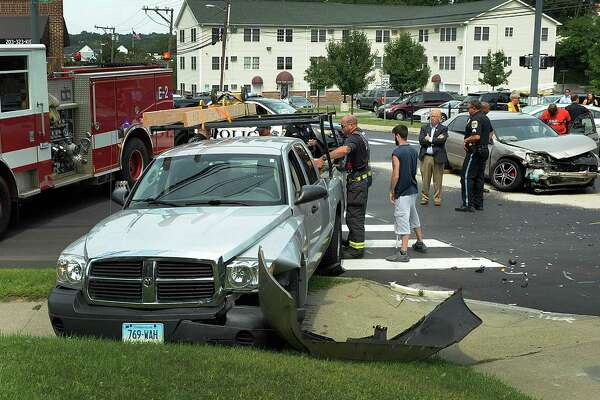 A crash involving two vehicles tied up traffic at the intersection of Deer Hill Avenue and West Street in Danbury around 12:30 p.m. on Thursday, August 25, 2016. Police said the injuries were not life threatening.