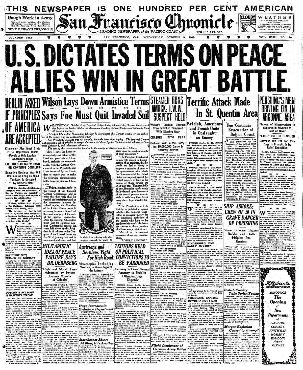 Historic Chronicle Front Page October 09, 1918 President Woodrow Wilson lays down armistice terms preceding the end of World War I