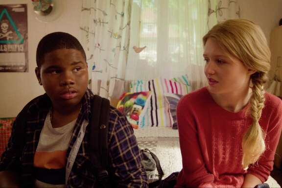 """Markees Christmas stars as the 13-year-old title character in """"Morris From America."""" Lina Keller portrays Katrin, an older teen whom he befriends."""