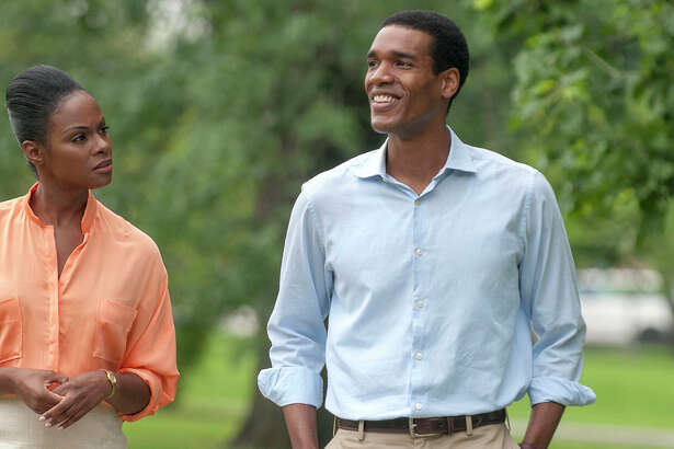 "Tika Sumpter (left) and Parker Sawyers star as Michelle Robinson and Barack Obama, respectively, in Richard Tanne's film ""Southside with You."""