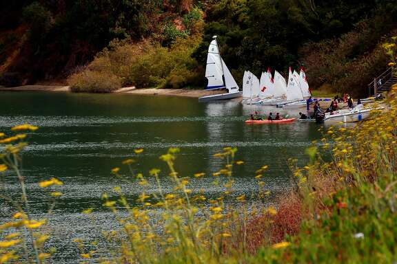 A sailing school along the shoreline of Clipper Cove on Treasure Island  in San Francisco, California, on Thurs. Aug. 4, 2016.