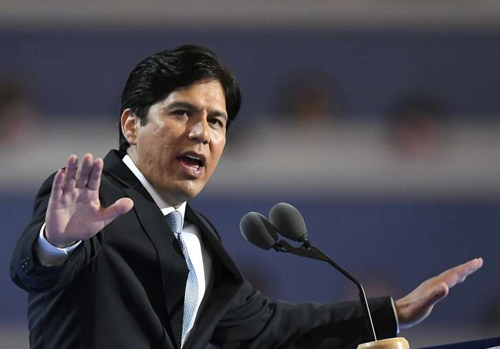 State Sen. Kevin de Leon, D- Calif., speaks during the first day of the Democratic National Convention in Philadelphia Monday, July 25, 2016. (AP Photo/Mark J. Terrill)