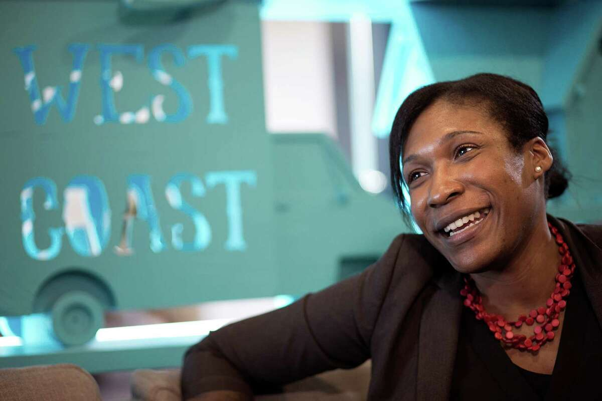 Pinterest Chief Diversity Officer Candace Morgan speaks to the reporter at the Pinterest offices on Tuesday, Jan. 19, 2016 in San Francisco. (LiPo Ching/Bay Area News Group/TNS)