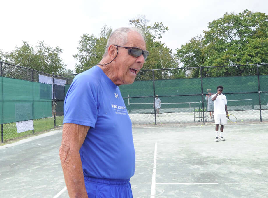 Connecticut Alliance for Tennis and Education and the USTA Foundation youth tennis clinic that was part of the sixth annual Connecticut Pro-Am and Gala at the Stanwich Club in Greenwich, Conn., Thursday, Aug. 25, 2016. Tennis coaching legend Nick Bollettieri, pictured here coaching during the event served as Honorary Chair for the event and coached the youth clinic. Stanwich Club Director of Racquets Sebastian Bredberg who was supervising the youth clinic said a main focus of the event was to promote and demonstrate the positive impact tennis instruction has on young people especially underserved youth. Photo: Bob Luckey Jr. / Hearst Connecticut Media / Greenwich Time