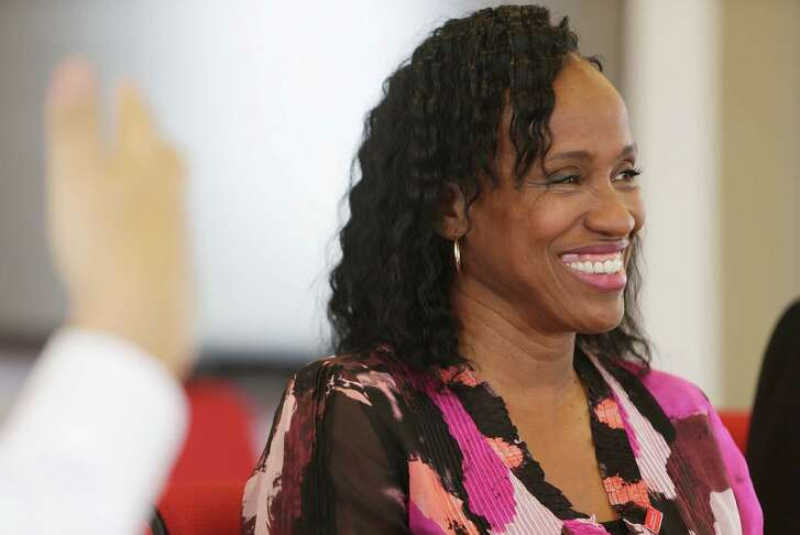 Jackie Joyner-Kersee talks about her new role as a spokesperson for Comcast's Internet Essentials program during a visit to the Houston Chronicle, Thursday, Aug. 25, 2016, in Houston. ( Mark Mulligan / Houston Chronicle )