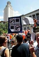 University of Texas students stage a protest against new campus carry rules for firearms.