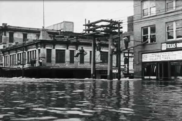 Flood waters completely overtook the streets of Houston in the 1930's.