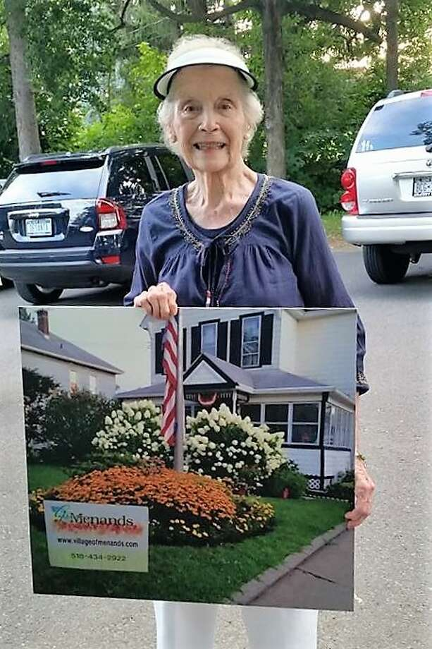 Joyce O'Brien, a 60-year resident of Menands, won the Menands Beautification Award for her beautiful hydrangeas and landscape of her home. (Photo provided by Beth Harbour)   ORG XMIT: fDk3WgA2zMhCcw35Hk3k