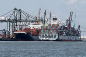 The Barbours Cut Container Terminal is shown from the Upper Galveston Bay Wednesday, Aug. 10, 2016. A grade of C was issued in the Galveston Bay Report Bay as to the overall heath of the Galveston Bay.  The report is present by The Galveston Bay Foundation (GBF) and the Houston Advanced Research Center (HARC).    ( Melissa Phillip / Houston Chronicle )