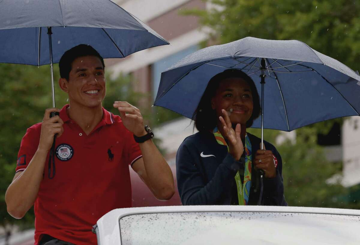 Sugar Land native Olympians Steven Lopez and Simone Manuel are welcomed home at Sugar Land Town Square Thursday, Aug. 25, 2016, in Sugar Land. Lopez has won two gold medals for his five-time Olympics and Manuel has won two gold medals and two silver medals in the 2016 Summer Olympics in Rio de Janeiro, Brazil.