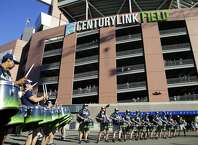 Blue Thunder, the Seattle Seahawks drumline, performs outside CenturyLink Field before a preseason NFL football game between the Seahawks and the Dallas Cowboys, Thursday, Aug. 25, 2016, in Seattle. (AP Photo/Stephen Brashear)