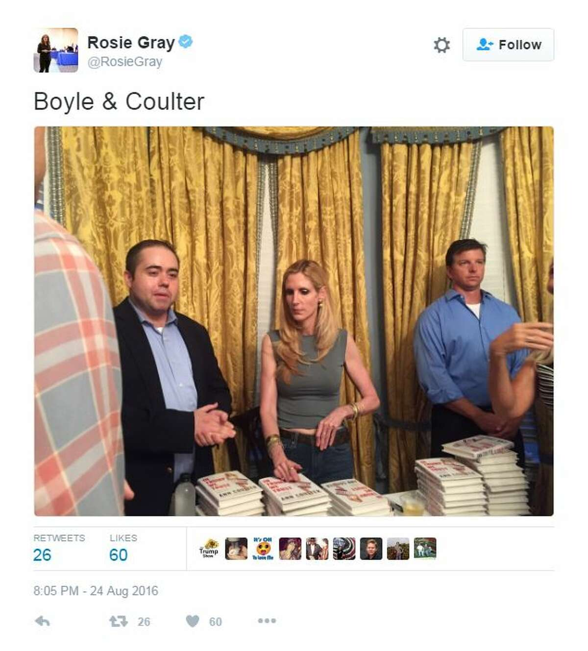 Coulter at a book signing on the same night Trump shifted his hardline stance on immigration, August 24, 2016.