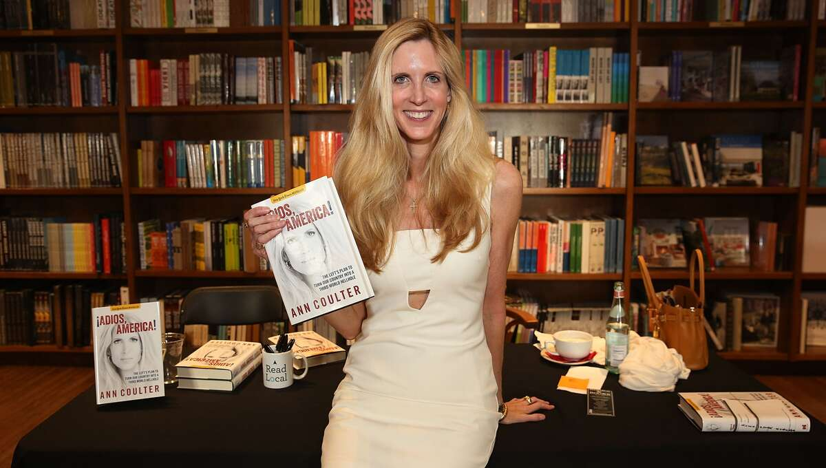 """Coulter was at a book signing on the same night Trump shifted his hardline stance on immigration,August 24, 2016. Pictured: Coulter's signing for """"Adios America"""" in March 2016."""