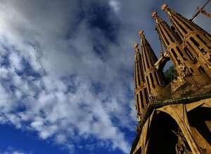 This photo taken Jan. 13, 2010 shows Antoni Gaudi's Sagrada Familia church, an unfinished Barcelona landmark in Barcelona, Spain.(AP Photo/Manu Fernandez)