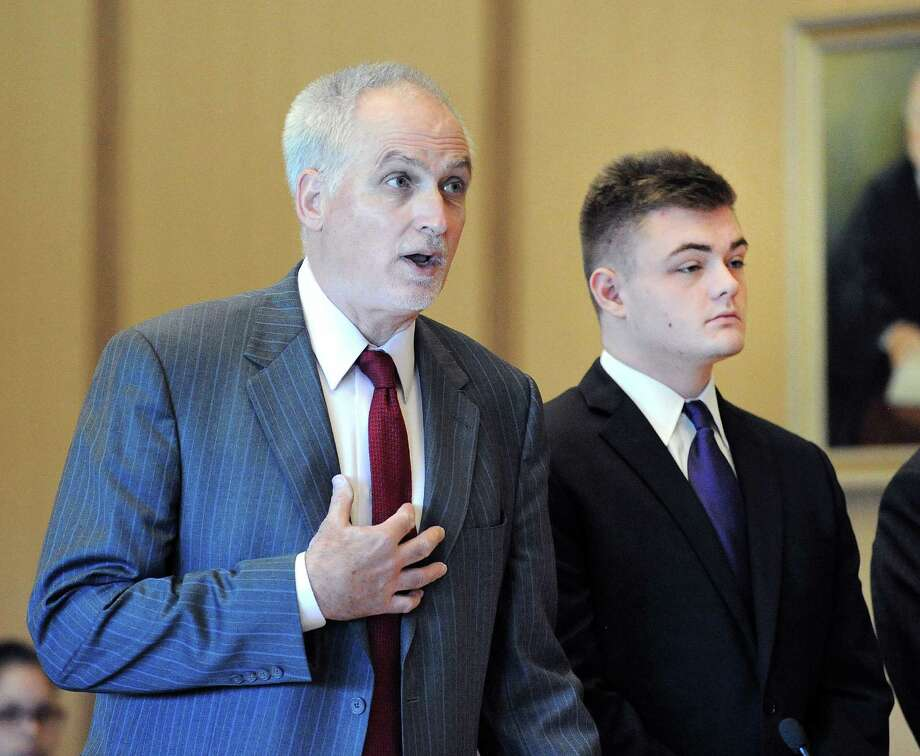 Attorney Eugene Riccio, left, speaks on behalf of Andrew Schmidt, of Greenwich, right, as Schmidt was in Connecticut Superior Court in Stamford, Conn., Friday, Aug., 26, 2016 for a proceeding in front of Judge Gary White to determine if Schmidt is going to be tried as an adult in the hit and run death of Cos Cob resident Edward Setterberg, 43, on the night of April 17. Photo: Bob Luckey Jr. / Hearst Connecticut Media / Greenwich Time