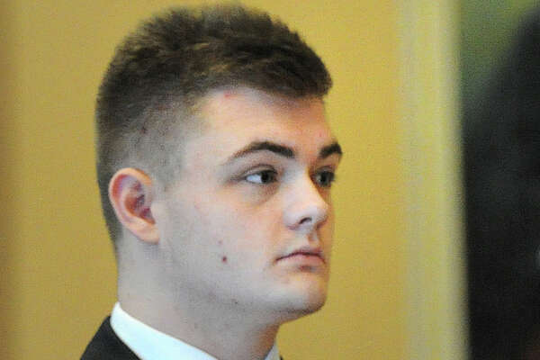 Andrew Schmidt, 17, of Greenwich, in Connecticut Superior Court in Stamford, Conn., Friday, Aug., 26, 2016 for a proceeding in front of Judge Gary White to determine if Schmidt is going to be tried as an adult in the hit and run death of Cos Cob resident Edward Setterberg, 43, on the night of April 17.