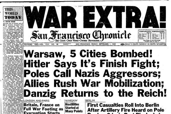 Historic Chronicle Front Page September  01, 1939  WAR EXTRA! Germany attacks Poland