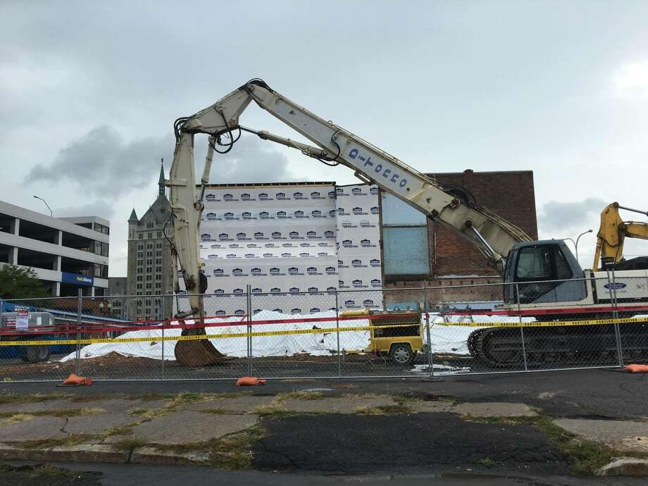 The side of 48 Hudson in Albany, considered the oldest building in Albany, on Friday morning after cleanup began following the collapse of 50 Hudson, which sat next door but was collapsing. Credit: Historic Albany Foundation